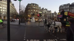 Trafalgar Square London - Horse and Carriage Stock Footage