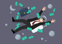 Stock Illustration of Greedy businessman floating in the space