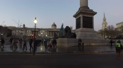 Trafalgar Square London - From Nelson's Column to Street level Stock Footage