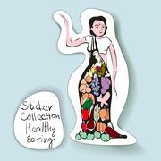 The Sticker Design for Healthy Eating - Vegetarian Girl - stock illustration
