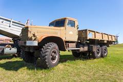 Old military truck KrAZ in Togliatti technical museum in sunny day - stock photo
