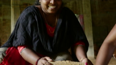 Happy Indian Woman Making Handmade Clay Jewellery Stock Footage
