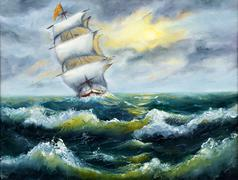 Stock Illustration of Ship in ocean