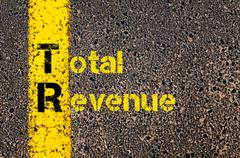 Accounting Business Acronym TR Total Revenue - stock photo