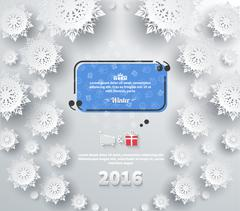 Snowflakes Background 2016 Quote Bubble Stock Illustration