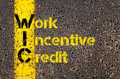 Accounting Business Acronym WIN Work Incentive Credit - stock photo
