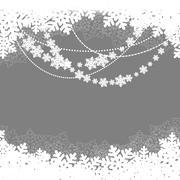 christmas snowy landscape - stock illustration