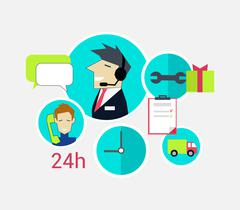 Support Concept Icon Flat Design - stock illustration