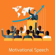 Motivational speech concept design - stock illustration