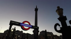 Trafalgar Square London - Underground Sign Evening Stock Footage