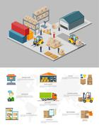 Icon 3d Isometric Process of the Warehouse Stock Illustration