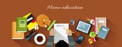 Home Education Flat Design Concept - stock illustration