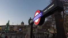 Trafalgar Square London - Underground sign Stock Footage