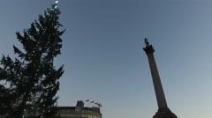 Trafalgar Square London - Christmas Tree and Nelson's Column Stock Footage