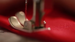 Sewing machine showing process. Close up. Stock Footage