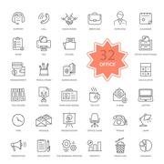 Set of Office Items Icons - stock illustration