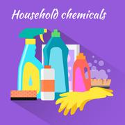 Household Chemical Flat Design Stock Illustration