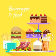 Beverages and Food Design Flat - stock illustration