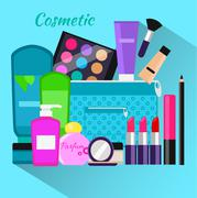 Cosmetic Set Flat Design Object - stock illustration