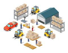 Icon 3d Isometric Process of the Warehouse - stock illustration
