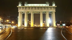 Moscow Triumphal gate at night. Stock Footage