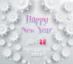 Snowflakes Background. Happy New Year - stock illustration