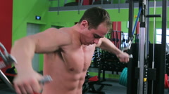 Workout for young bodybuilder. The Cable Crossover Stock Footage