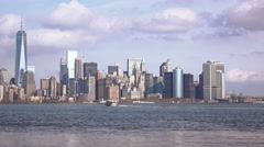 City of New York seen from Liberty Island 4k Stock Footage