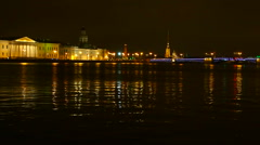 Panoramic view of the Peter and Paul fortress and Palace bridge. Stock Footage