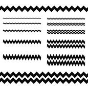 Graphic design elements - zigzag line divider set - stock illustration