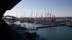 The port of the fair sea of Genoa during the boat show Stock Footage