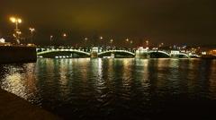 St. Petersburg night, Stock bridge. Stock Footage