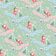 Vector christmas ongoing background with Santa Stock Illustration