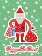 Illustration of Santa Claus with sack in a flat style and wish - stock illustration