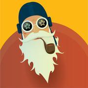 Stock Illustration of vector biker santa claus with smoking pipe