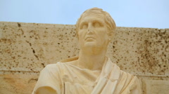 Marble statue of famous ancient Greek new comedy dramatist, art of sculpture Stock Footage