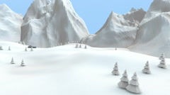 Winter low poly mountain landscape. Three-dimensional animation. Stock Footage