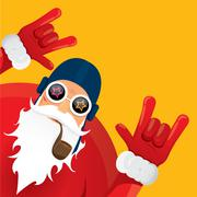 vector biker santa claus with smoking pipe - stock illustration