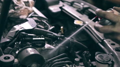 Cleaning car engine Stock Footage