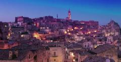 Panoramic view of typical stones and church of Matera time lapse Stock Footage