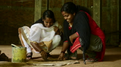 Indian Sisters Family Making Handmade Clay Jewellery Stock Footage