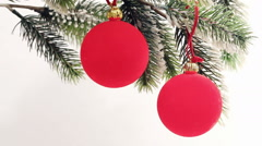 Red New Year's balls - stock footage