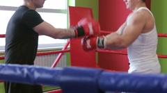 Fight training kickboxers Stock Footage