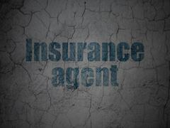 Stock Illustration of Insurance concept: Insurance Agent on grunge wall background