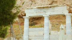 Stock Video Footage of Antique marble colonnade remains, decoration set for movie about ancient Greece
