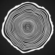 Vector Tree Rings Background and Saw Cut Tree Trunk. - stock illustration