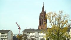 Frankfurt Cathedral in downtown of city establishing shot 4k Stock Footage