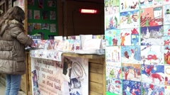 Exhibition of children cards handmade Christmas market 2 Stock Footage