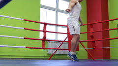 Training boxer with rope Stock Footage