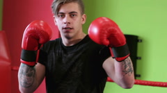 Young male kickboxer Stock Footage